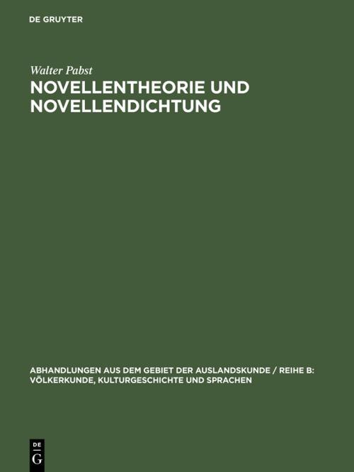 Novellentheorie und Novellendichtung cover
