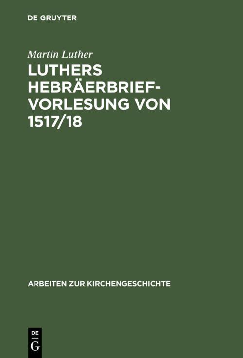 Luthers Hebräerbrief-Vorlesung von 1517/18 cover