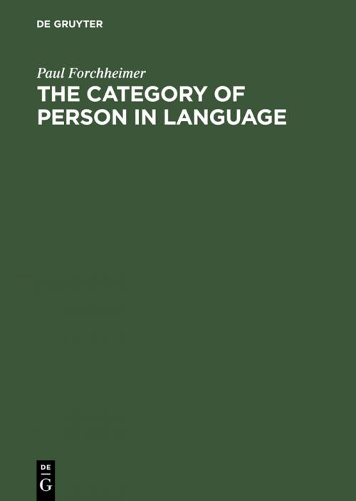 The Category of Person in Language cover