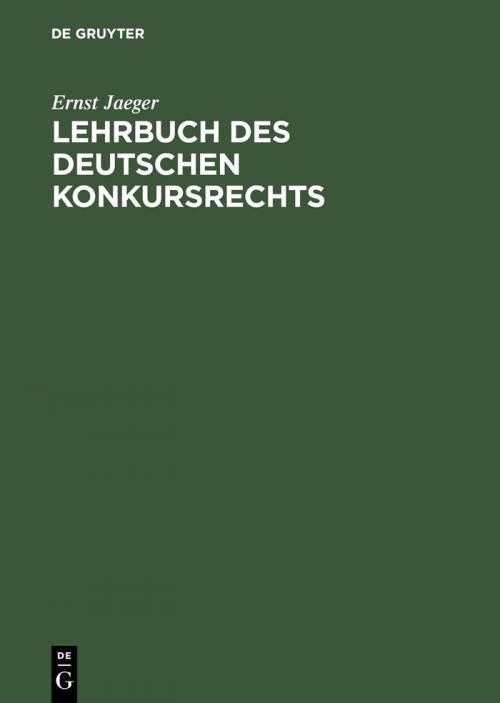 Lehrbuch des deutschen Konkursrechts cover