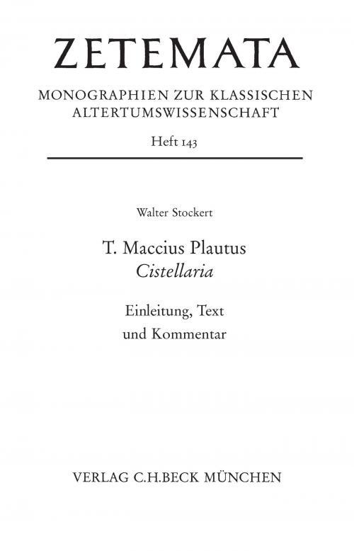 T. Maccius Plautus. Cistellaria cover
