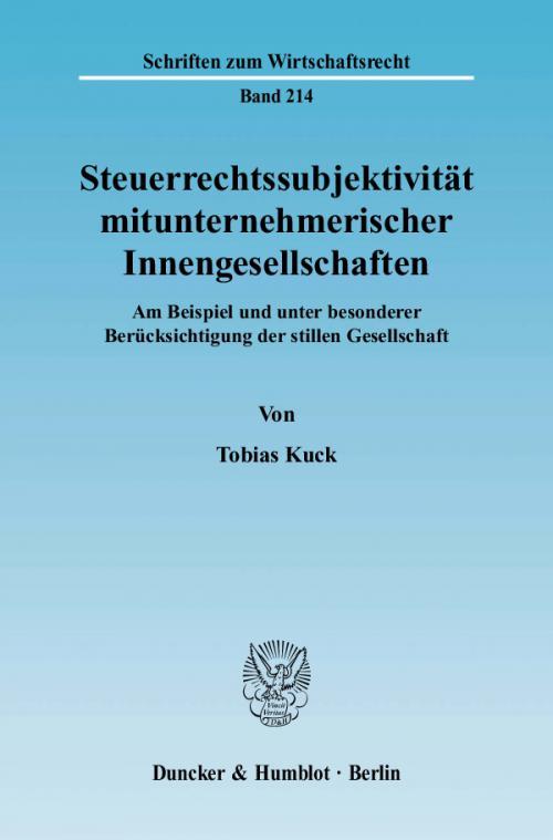 Steuerrechtssubjektivität mitunternehmerischer Innengesellschaften. cover