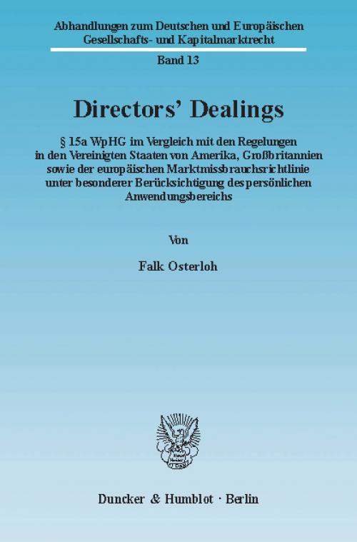 Directors' Dealings. cover
