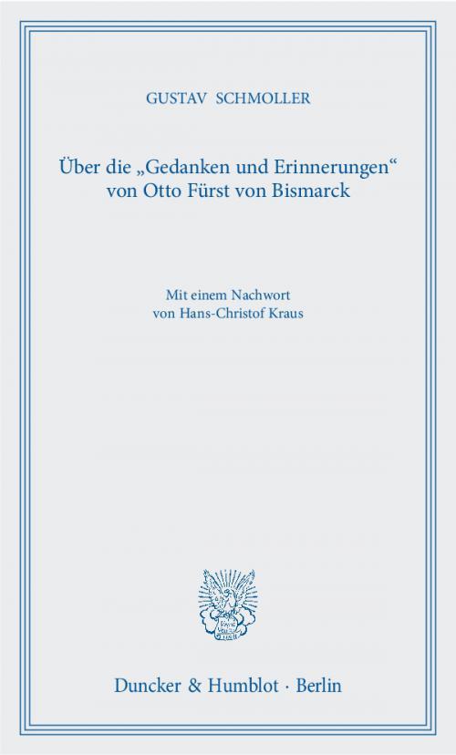 Über die »Gedanken und Erinnerungen« von Otto Fürst von Bismarck. cover
