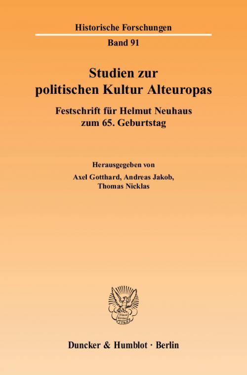 Studien zur politischen Kultur Alteuropas. cover