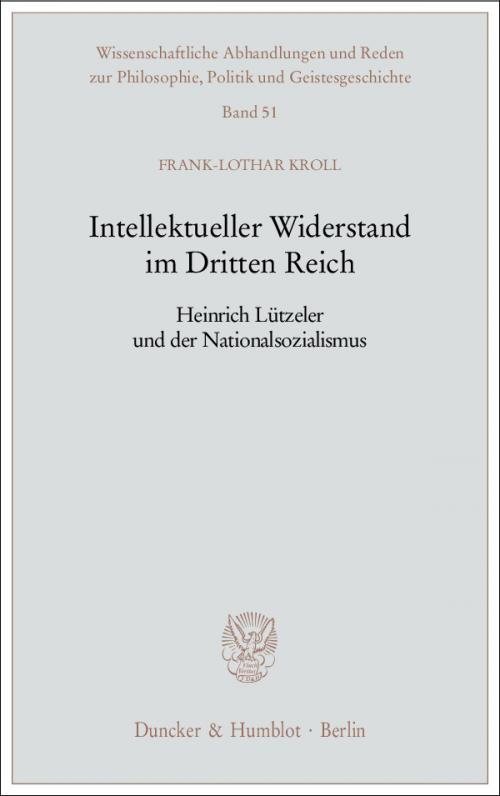 Intellektueller Widerstand im Dritten Reich. cover