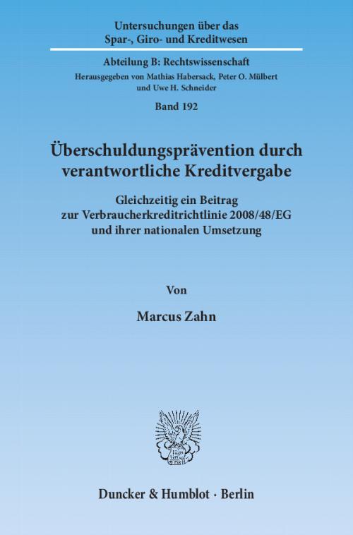Überschuldungsprävention durch verantwortliche Kreditvergabe. cover