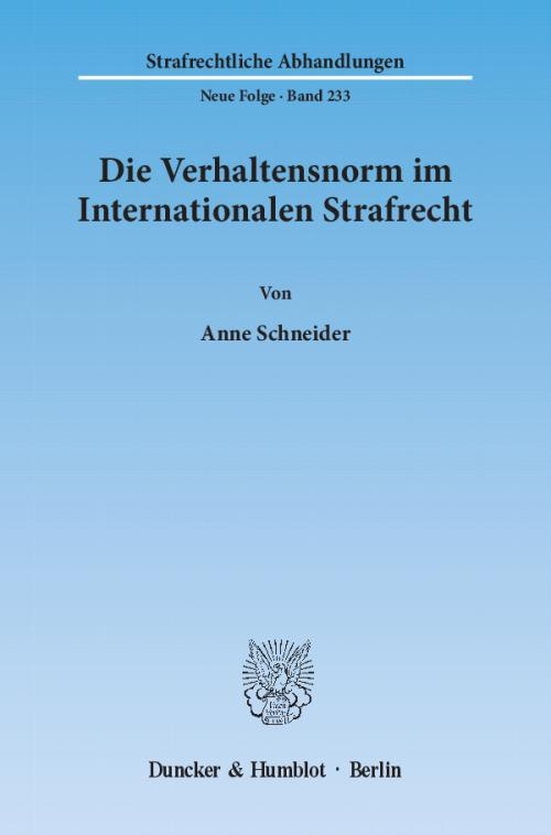Die Verhaltensnorm im Internationalen Strafrecht. cover