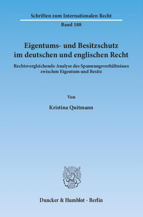 Eigentums- und Besitzschutz im deutschen und englischen Recht. cover