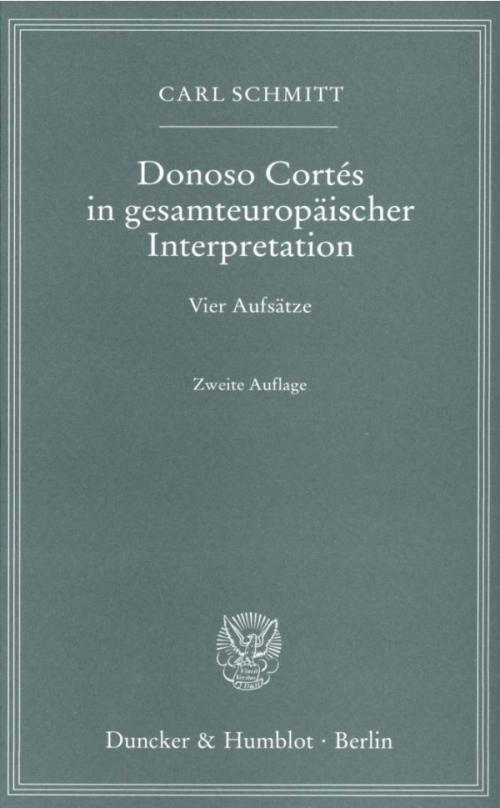 Donoso Cortés in gesamteuropäischer Interpretation. cover