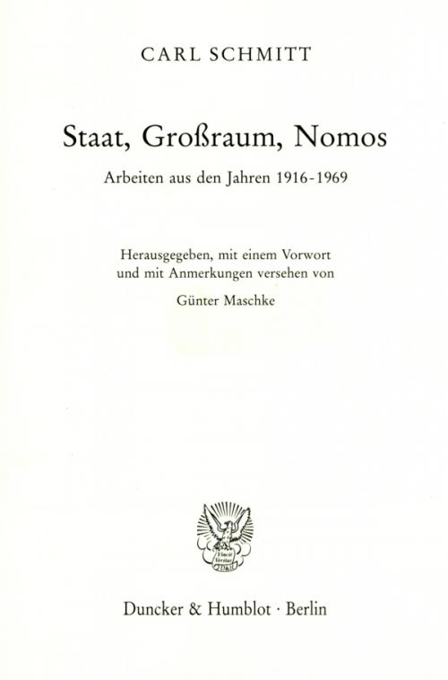 Staat, Großraum, Nomos. cover