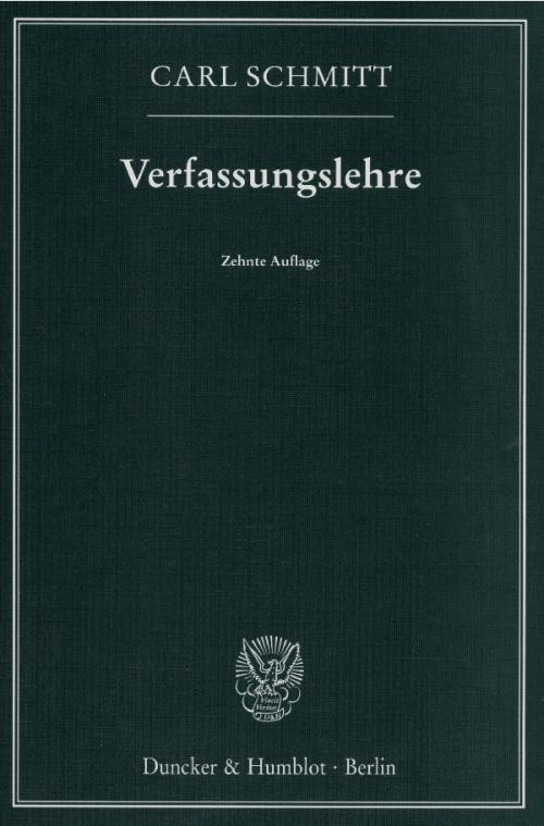 Verfassungslehre. cover