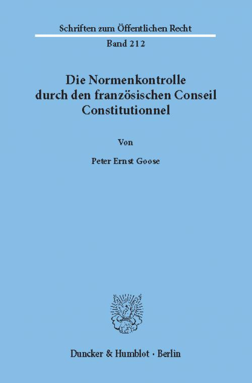 Die Normenkontrolle durch den französischen Conseil Constitutionnel. cover