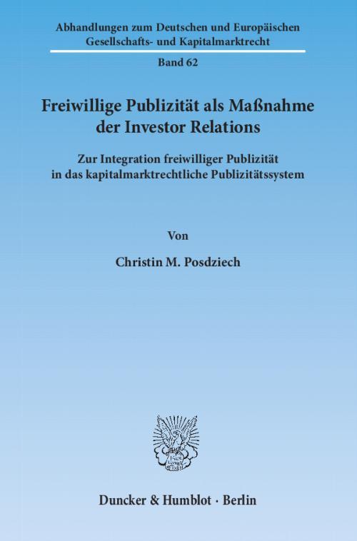 Freiwillige Publizität als Maßnahme der Investor Relations. cover