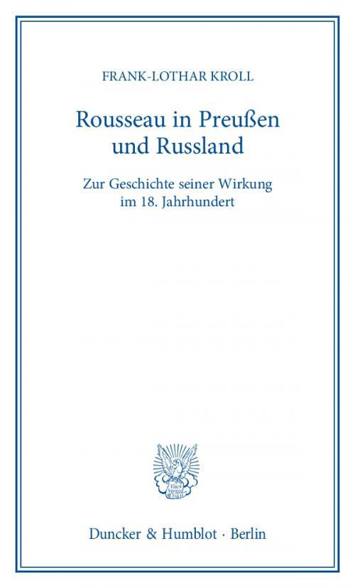 Rousseau in Preußen und Russland. cover