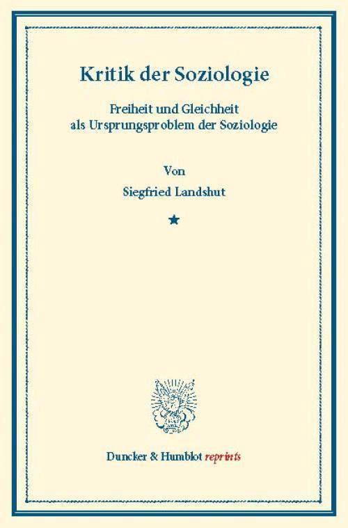 Kritik der Soziologie. cover
