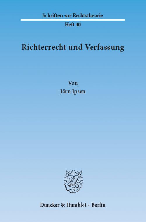 Richterrecht und Verfassung. cover