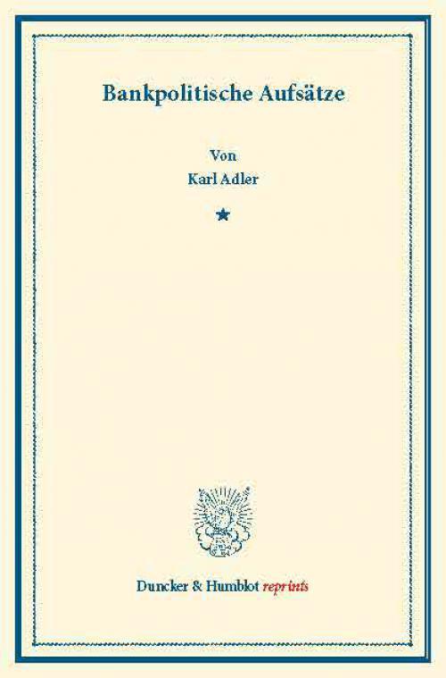 Bankpolitische Aufsätze. cover