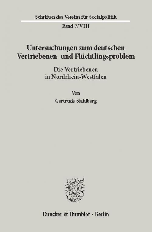 Untersuchungen zum deutschen Vertriebenen- und Flüchtlingsproblem. cover