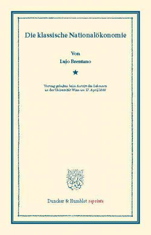 Die klassische Nationalökonomie. cover