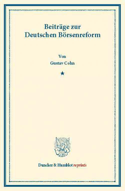 Beiträge zur Deutschen Börsenreform. cover