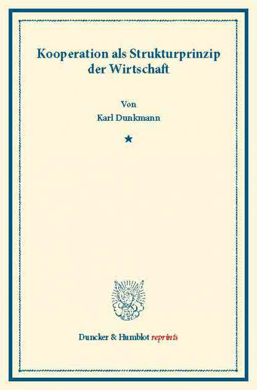 Kooperationen als Strukturprinzip der Wirtschaft. cover