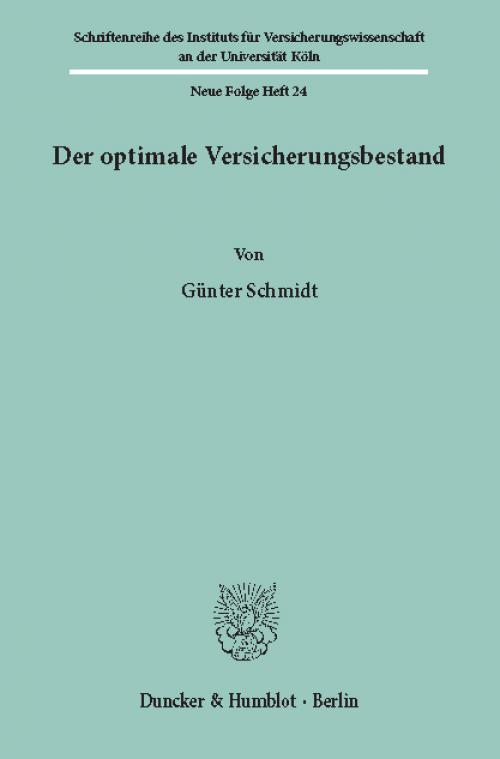 Der optimale Versicherungsbestand. cover