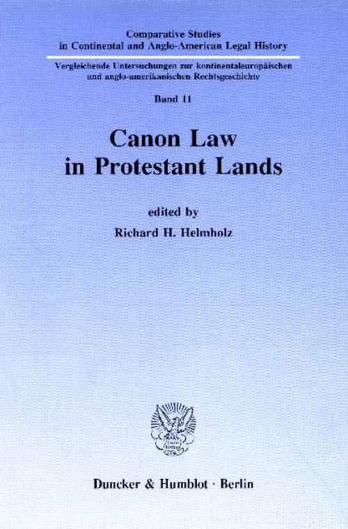 Canon Law in Protestant Lands. cover