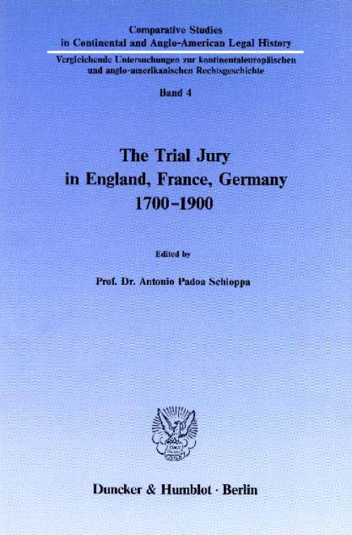 The Trial Jury in England, France, Germany 1700–1900. cover