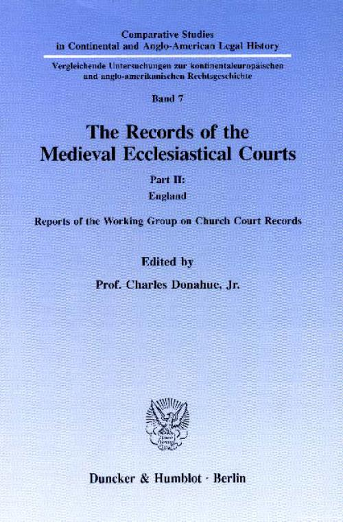 The Records of the Medieval Ecclesiastical Courts. cover