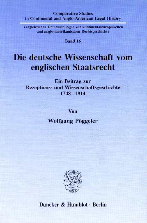 Die deutsche Wissenschaft vom englischen Staatsrecht. cover