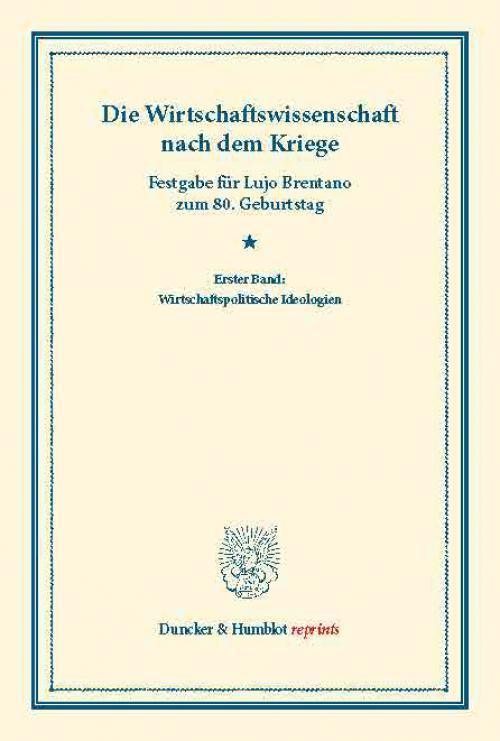 Die Wirtschaftswissenschaft nach dem Kriege. cover