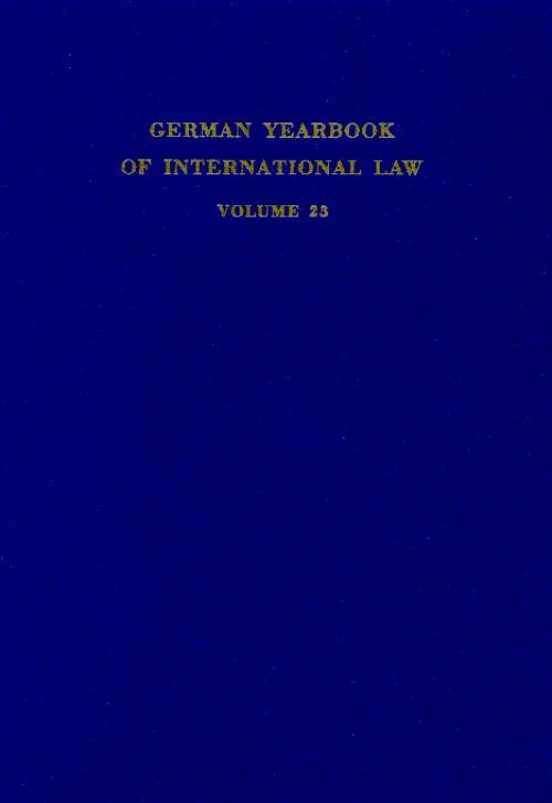 German Yearbook of International Law / Jahrbuch für Internationales Recht. cover
