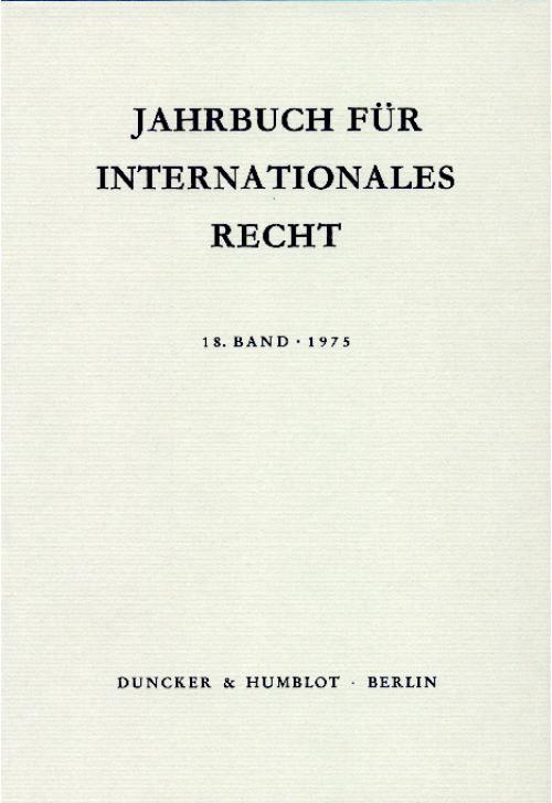 Jahrbuch für Internationales Recht. cover