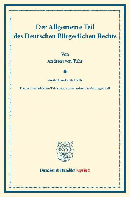 Der Allgemeine Teil des Deutschen Bürgerlichen Rechts. cover