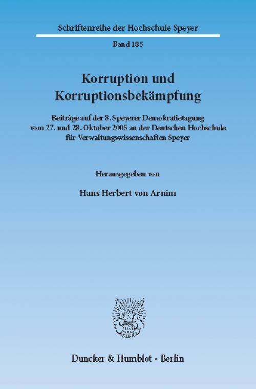Korruption und Korruptionsbekämpfung. cover