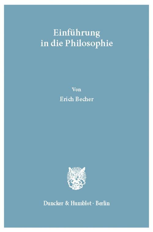 Einführung in die Philosophie. cover
