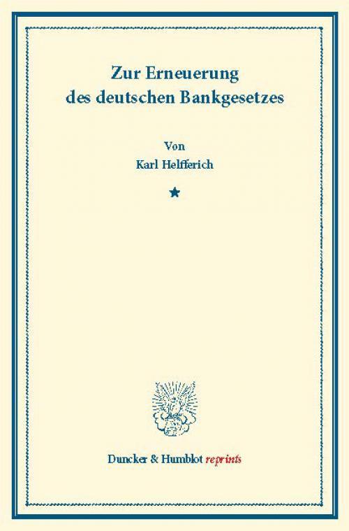 Zur Erneuerung des deutschen Bankgesetzes. cover