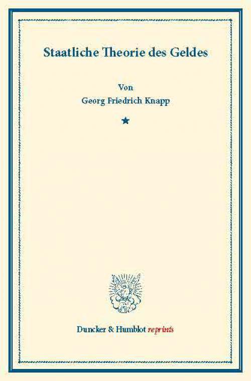 Staatliche Theorie des Geldes. cover