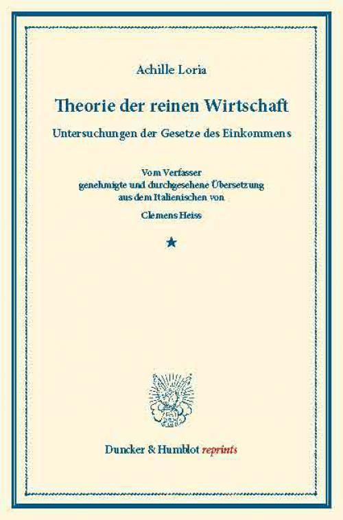 Theorie der reinen Wirtschaft. cover