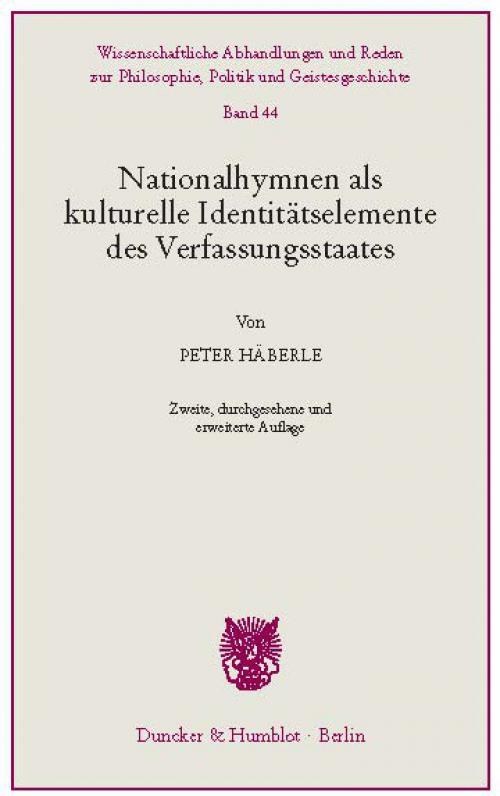 Nationalhymnen als kulturelle Identitätselemente des Verfassungsstaates. cover