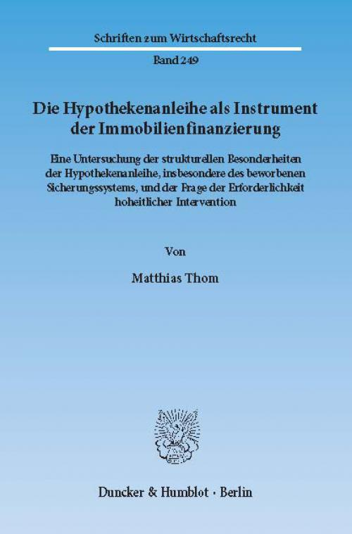 Die Hypothekenanleihe als Instrument der Immobilienfinanzierung. cover