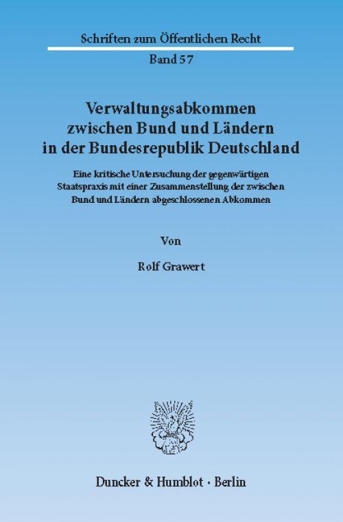 Verwaltungsabkommen zwischen Bund und Ländern in der Bundesrepublik Deutschland. cover