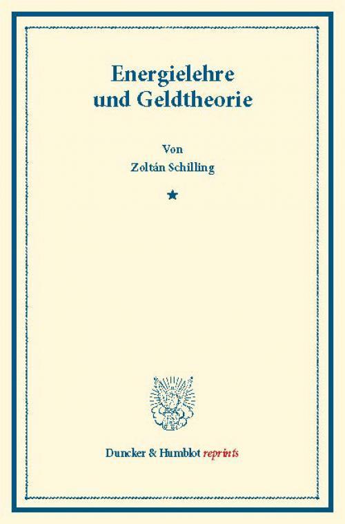 Energielehre und Geldtheorie. cover