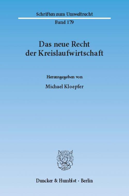 Das neue Recht der Kreislaufwirtschaft. cover