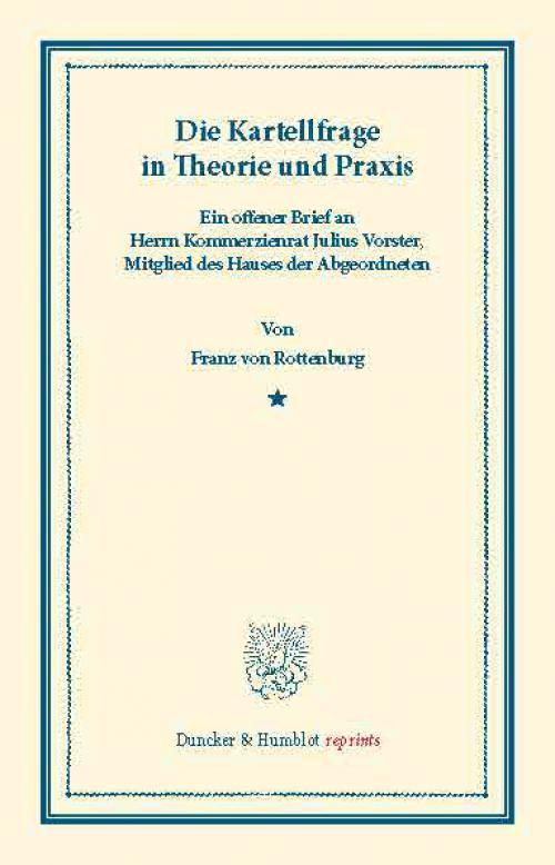 Die Kartellfrage in Theorie und Praxis. cover
