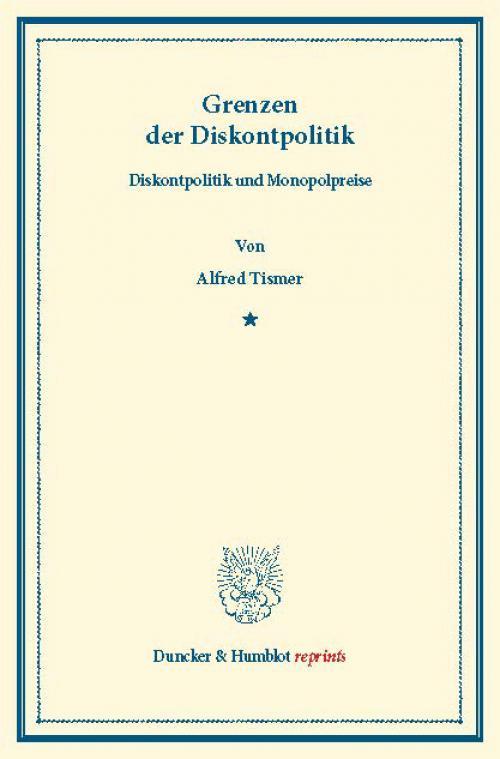 Grenzen der Diskontpolitik. cover