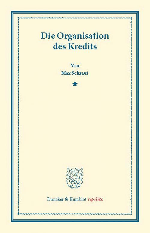 Die Organisation des Kredits. cover