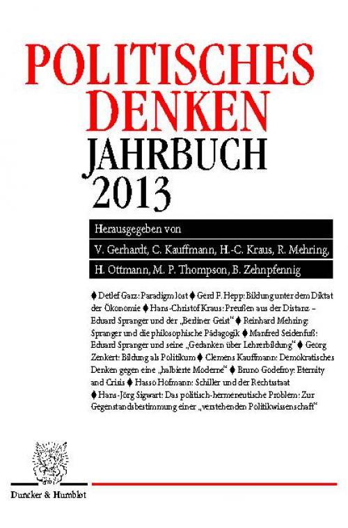 Politisches Denken. Jahrbuch 2013. cover