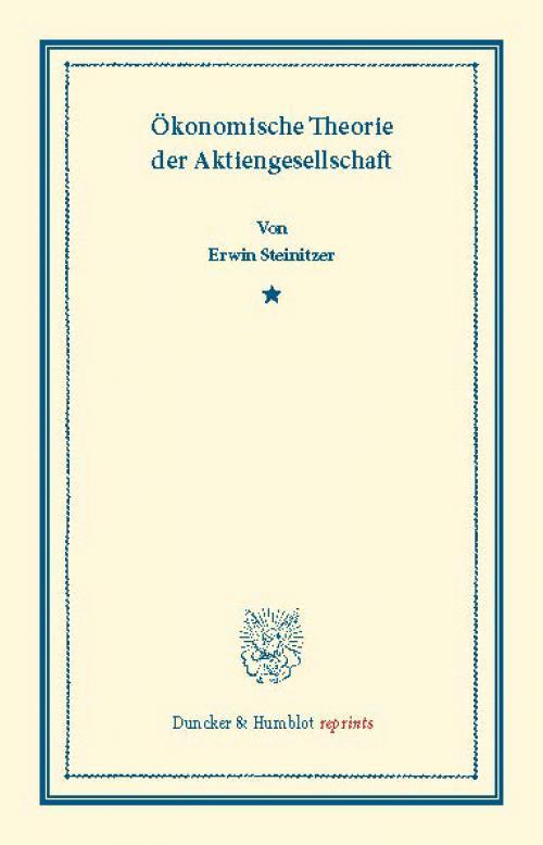Ökonomische Theorie der Aktiengesellschaft. cover